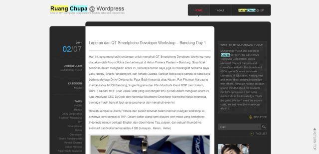 The old look of Ruang Chupa @ Wordpress