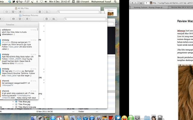 Swipe dari Full Screen Apps kembali ke Desktop