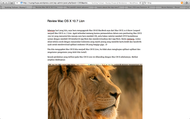 Menulis blog di WordPress menjadi lebih nyaman dengan Full Screen Safari