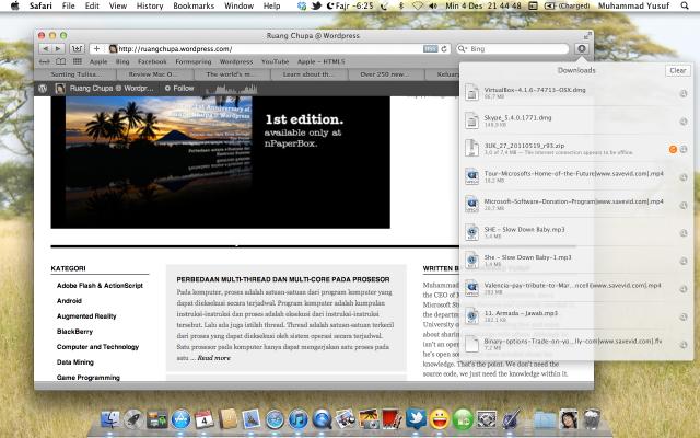 Antarmuka Download yang baru di Safari