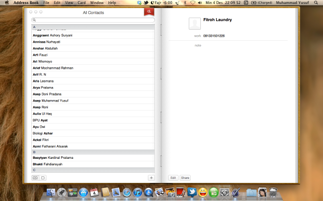 Address Book pada Mac OS X Lion